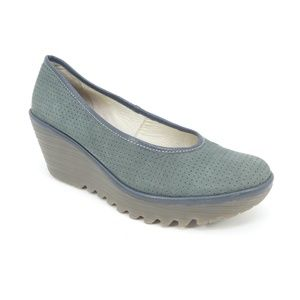 Fly London Yalu Green Perforated Leather Wedges